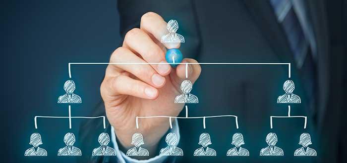 mano escribe una piramide organizacional liderazgo empresarial