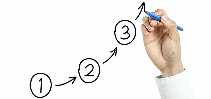 mano escribiendo sobre vidrio en ruta ascendente liderazgo empresarial
