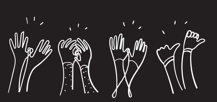 manos levantadas aplauden dibujo