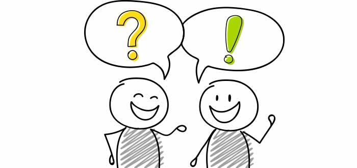 dos personas dibujadas una con signo interrogacion otra con signo admiracion liderazgo empresarial liderazgo empresarial