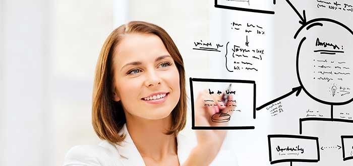 mujer escribiendo un mapa mental sobre vidrio