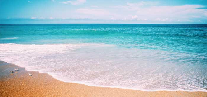 Ola en la playa y horizone en el mar - estrategia del oceáno azul