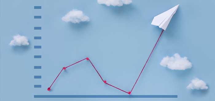 Gráfico para dibujar matriz BCG y avión de papel con nubes