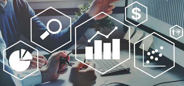 Iconos de análisis de negocios y estrategias de crecimiento