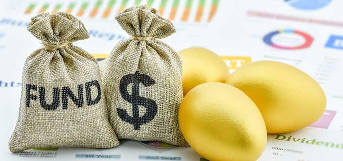 Bolsas de dinero y huevos de oro con documentos de plan financiero
