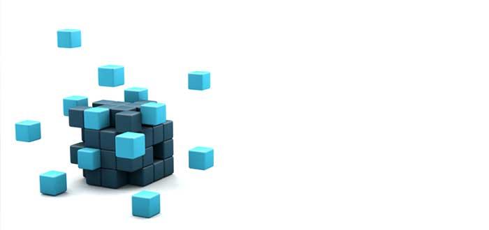 Cubo grande y cubos menores que se le unen