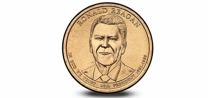 moneda Estados Unidos cara Ronald Reagan
