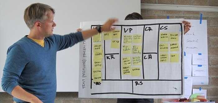 Hombre explica el modelo de negocios Canvas