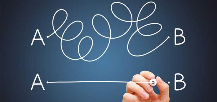 Mano de hombre dibuja línea del punta A al punto B