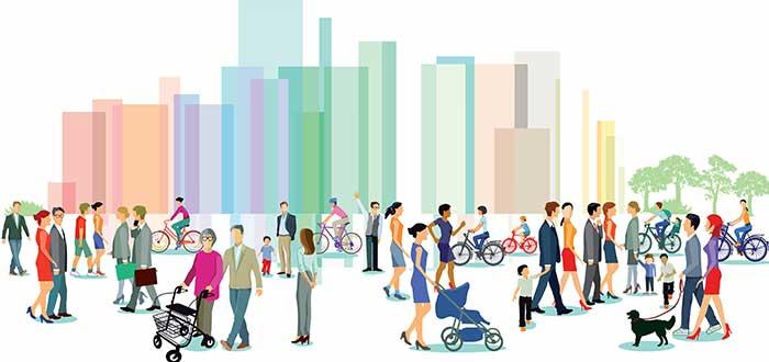 ciudad con personas paseando dibujo