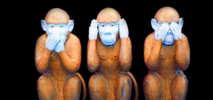Tres monos sin habla oído y vista