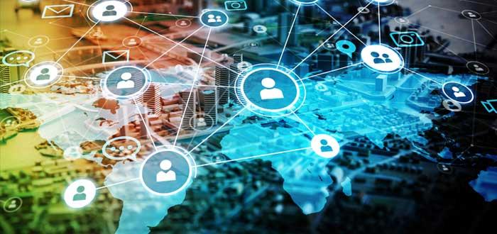 Usuarios interconectados en el mundo por efecto red