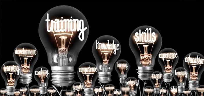 Bombillas con conceptos de innovación empresarial
