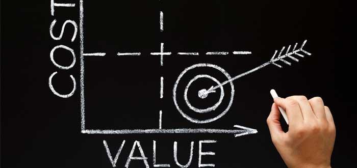 Gráfico sobre pizarra de costo y valor