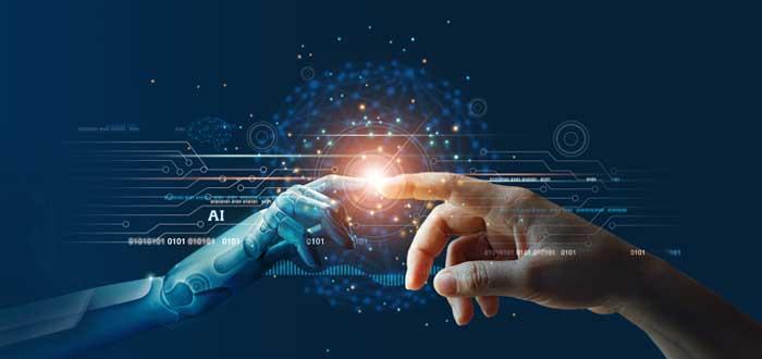 Una mano de robot toca una mano humana como símbolo de innovación empresarial