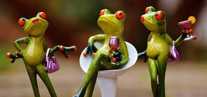 Representación de la arrogancia en tres ranas