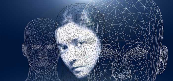 Rostro de mujer con esquemas que representan la conciencia