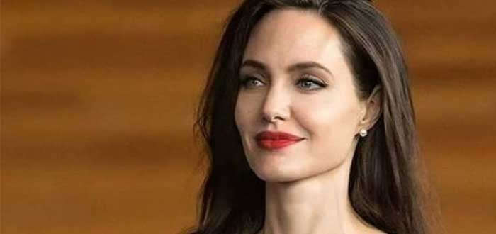 Rostro de Angelina Jolie sobre fondo café borroso