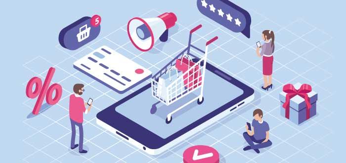 dibujo que detalla diferentes iconos de e-commerce como un dispositivo, un carrito de compras, tarjeta de crédito, descuentos, reseñas, caja de regalo y muestra el dibujo de tres personas. En esta imagen se evidencian las ventajas del comercio electrónico.