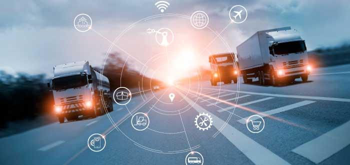 camiones que simulan la distribución