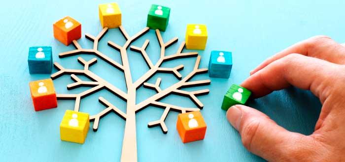 dados formando un árbol que simulan los recursos humanos de una empresa