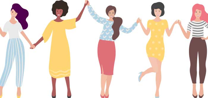 Dibujo de mujeres con las manos entrelazadas
