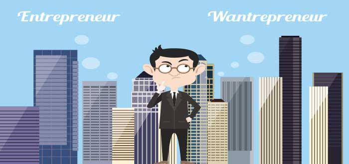 Hombre vestido de traje decidiendo entre entrepreneur y wantrepreneur