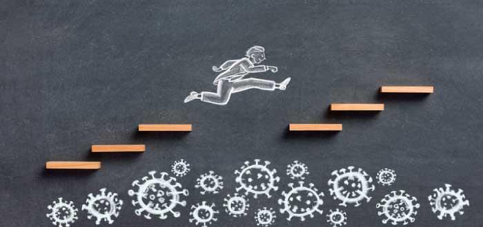 sobreponerse a las dificultades y seguir subiendo escalones