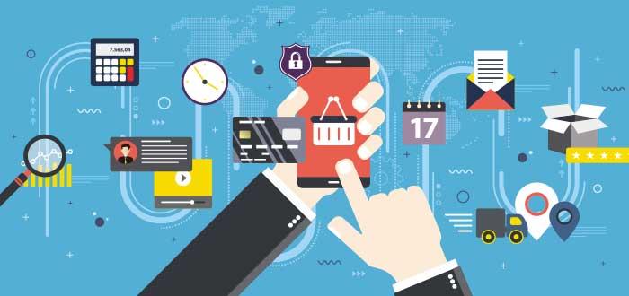 Dibujo de mano interactúa con un móvil y alrededor se ven diferentes iconos correspondientes a las ventajas del comercio electrónico