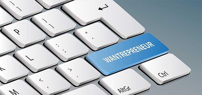 Teclado de computadora con la palabra wantrepreneur en una tecla