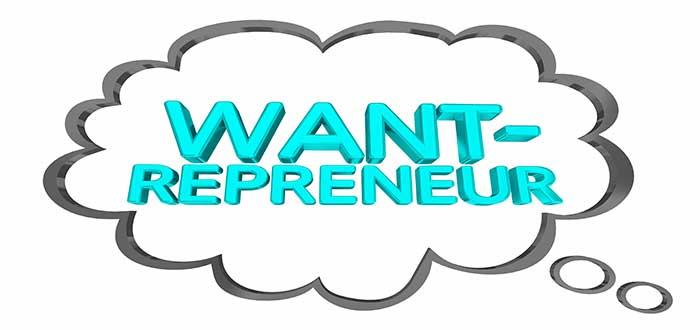 globo de diálogo con la palabra wantrepreneur