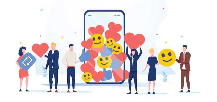 personas con corazones y emojis sonrientes