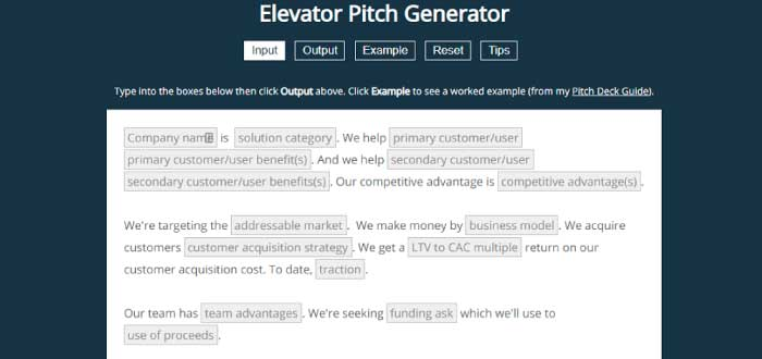 Elevator Pitch Generator
